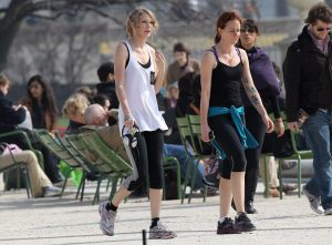 Taylor and Caitlin jogging in Paris, France