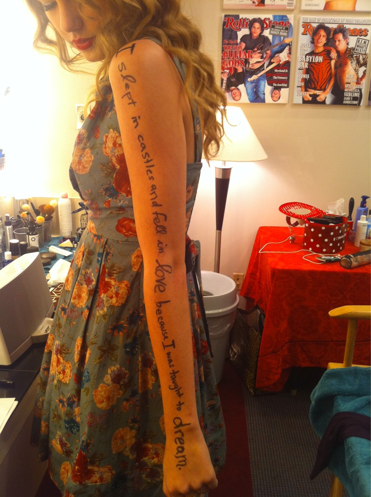 The Speak Now Tour Arm Lyrics The Swift Agency