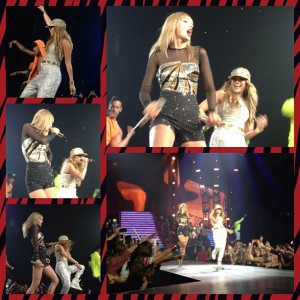 Taylor Swift and Jennifer Lopez perform on the RED Tour at the Staples Center on August 24, 2013
